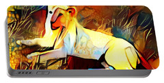 Portable Battery Charger featuring the photograph White Lioness by Pennie  McCracken
