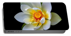 White Lotus Flower Portable Battery Charger