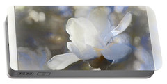 White Magnolia Flower Blossom In The Sunlight Portable Battery Charger