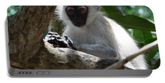 White Monkey In A Tree 4 Portable Battery Charger