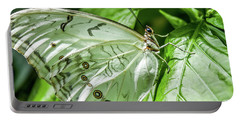 Portable Battery Charger featuring the photograph White Morpho Butterfly by Joann Copeland-Paul
