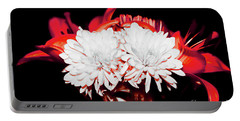 White Mums And Red Lilies Portable Battery Charger