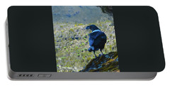 Portable Battery Charger featuring the photograph White-necked Raven Cliff-side by Jeff at JSJ Photography