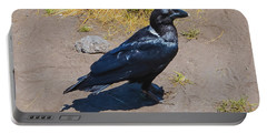 Portable Battery Charger featuring the photograph White-necked Raven Of Kilimanjaro by Jeff at JSJ Photography