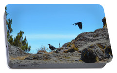 Portable Battery Charger featuring the photograph White-necked Raven Pair On Kilimanjaro by Jeff at JSJ Photography