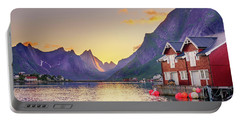 White Night In Reine Portable Battery Charger