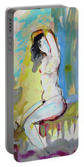 White Nude And Bird Portable Battery Charger by Amara Dacer