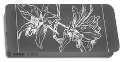 White Orchid On Transparent Background Portable Battery Charger