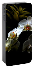 White Orchid With Dark Background Portable Battery Charger