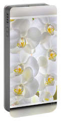 White Orchids Framed Portable Battery Charger