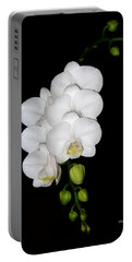 White Orchids On Black Portable Battery Charger