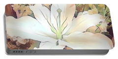 White Painted Lily Portable Battery Charger