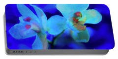 Portable Battery Charger featuring the digital art White Painted Orchids by Darleen Stry