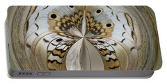 White Peacock Butterfly Orb Portable Battery Charger