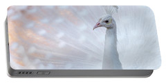 Portable Battery Charger featuring the photograph White Peacock by Sebastian Musial
