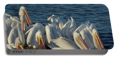 Portable Battery Charger featuring the photograph White Pelicans Flock Feeding by Bradford Martin