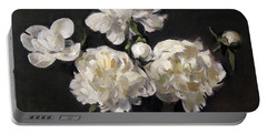 White Peonies Alone Portable Battery Charger