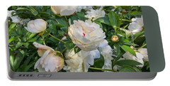 White Peonies In North Carolina Portable Battery Charger