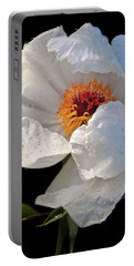 White Peony After The Rain Portable Battery Charger by Gill Billington