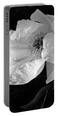 White Peony After The Rain In Black And White Portable Battery Charger by Gill Billington