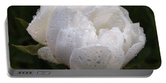 White Peony Covered In Raindrops Portable Battery Charger by Gill Billington