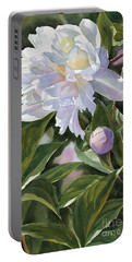 White Peony With Bud Portable Battery Charger