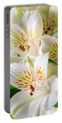 White Peruvian Lilies In Bloom Portable Battery Charger