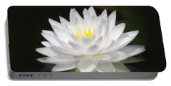 White Petals Glow - Water Lily Portable Battery Charger by MTBobbins Photography
