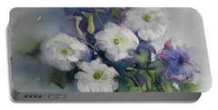 White Petunias Portable Battery Charger by Elena Oleniuc