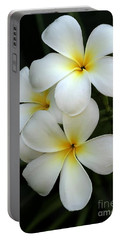 White Plumeria Portable Battery Charger
