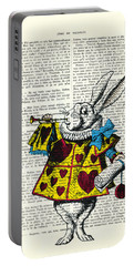 White Rabbit Blows His Trumpet Three Times Alice In Wondreland Portable Battery Charger