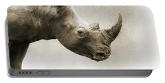 White Rhino Sepia Closeup Square Portable Battery Charger