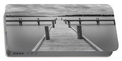 White Rock Lake Pier Black And White Portable Battery Charger