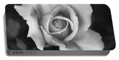 White Rose Against Black Portable Battery Charger