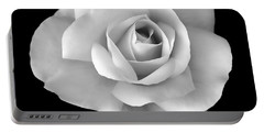 White Rose Flower In Black And White Portable Battery Charger