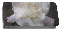 White Rose In Rain - 3 Portable Battery Charger by Shirley Heyn