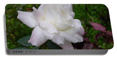White Rose In Rain Portable Battery Charger