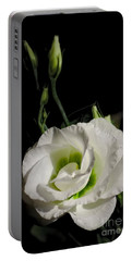 White Rose On Black Portable Battery Charger