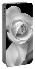White Rose Petals Black And White Portable Battery Charger