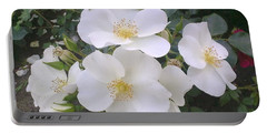 White Roses Bloom Portable Battery Charger
