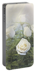 White Roses Portable Battery Charger
