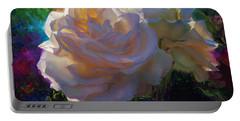 White Roses In The Garden - Backlit Flowers - Summer Rose Portable Battery Charger