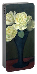 Four Off-white Roses In Trumpet Vase Portable Battery Charger