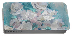 White Roses Palette Knife Acrylic Painting Portable Battery Charger