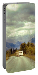 Portable Battery Charger featuring the photograph White Rv In Montana by Jill Battaglia