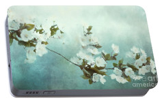 Portable Battery Charger featuring the mixed media White Sakura Blossoms by Shanina Conway