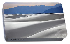 Portable Battery Charger featuring the photograph White Sands Hikers by Martin Konopacki