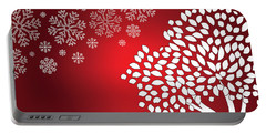 White Snowflakes And Tree Christmas Portable Battery Charger