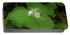Portable Battery Charger featuring the photograph White Spring Trillium by Mike Eingle