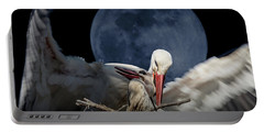 White Storks Of Fagagna With Full Moon Portable Battery Charger